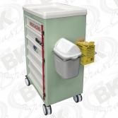 BKMP 008-004 - CARRO DE MEDICAÇÕES 06 GAVETAS - COM SUPORTE AÇO INOXIDÁVEL PARA LIXEIRA E CAIXA DE PERFURO CORTANTES