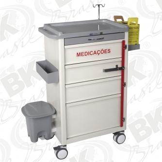 BKMP 012 - CARRO DE MEDICAÇÕES 03 GAVETAS E 01 GAVETÃO