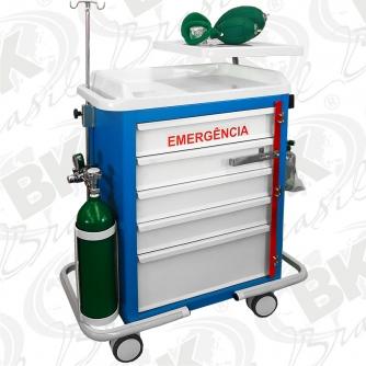 :: BKCE 011 :: CARRO DE EMERGÊNCIA COM ACESSÓRIOS OXIGENOTERAPIA